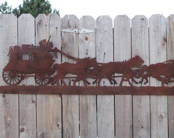 Rustic Metal Stagecoach Silhouette