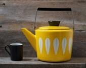 Excellent Rare Cathrineholm Enamelware Yellow Lotus Teapot - Mid Century