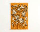 Vintage Ullas Swedish Handprinted Mod Floral Textile Wall Hanging - Mid Century