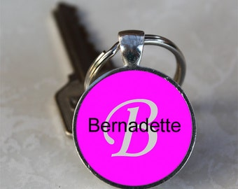 Bernadette Name Monogram Handcrafted Glass Dome Keychain (GDNKC0318)