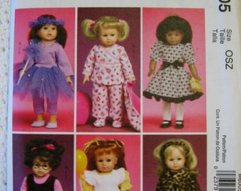 "McCalls Crafts 18"" Doll Outfits Clothes  Sewing Pattern M6005 Uncut UC FF American Girl Gotz"