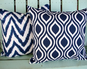"Set of 2 18"" X 18"" navy blue, white modern Premier chevron diva slub nicole print cotton- Decorative pillow cover-throw pillow-accent pillow"