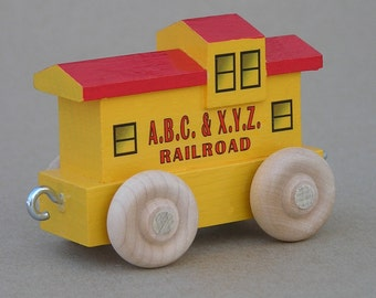 Wooden Toy Yellow Caboose
