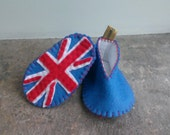Union Jack Baby Shoes, Red White & Blue Baby Booties, Star Spangled Banner Booties, Felt American Flag, Patriotic Baby Shoes, Felt UK Flag