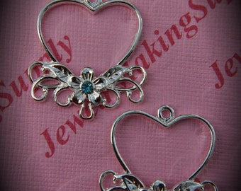 Genuine Silver Plated Swarovski Crystal Heart Chandelier Earrings In Aquamarine