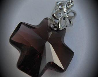 6866 Genuine 20mm Cross Silver Plated Swarovski Crystal Burgundy Pendant