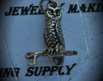 Owl In a Branch Sterling Silver Plated Charm