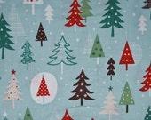 Fabric Christmas Wish Trees by Dashwood Sold by the Half Metre Blue Xmas Fabric - UK Shop - Craft Supplies