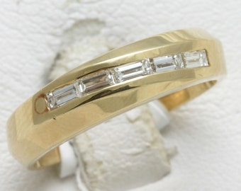 Vintage 14k yellow gold band DIAMOND baguette ring 1/2 carat channel set swirl Handmade