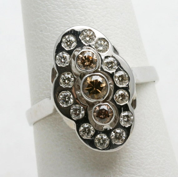 Vintage 14k white gold Chocolate Champagne Diamond Ring Victorian Reproduction 3 stone