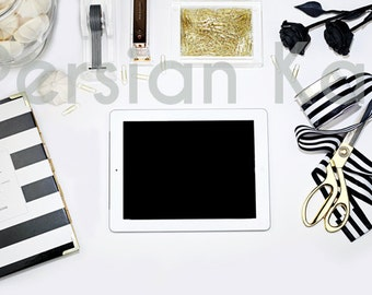 Ebook or Web Design Styled Stock Photography |Styled Desktop Image | White, Black and Gold office photo. Web Design Background