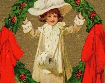 Colorful Vintage Christmas Greetings Postcard 1917 Edwardian Girl In White With Holly Wreath