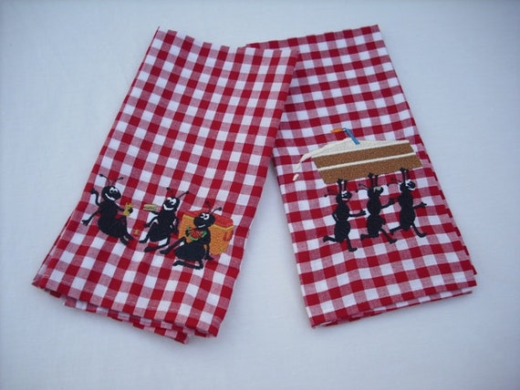 Gingham napkins picnic ants cotton machine embroidered