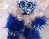 Blue and White Foo Cub Shishi Posable Art Doll