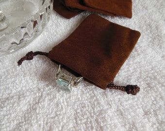 25 Chocolate Brown Mini velvet-velour bag - package jewelry necklaces earrings
