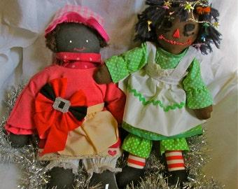 2 Vintage Handmade Black Dollies