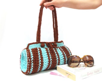 Crochet Bag, Cylinder bag, Brown, Blue crochet tote bag, Handmade crochet handbag, Unique bag, Useful bag, Pouch, Blue Brown