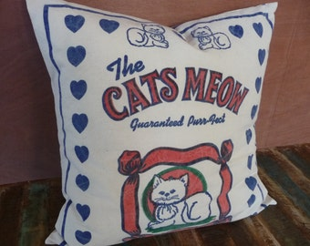 """Cat Pillow Cover - Kitty Pillow Cover - Cats Meow - Cat Lover Gift  - Rustic Style - 18"""""""