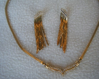 Vintage Park Lane Gold Toned Necklace with Rhinestones Includes Matching Earrings and Bracelet Circa 1980's