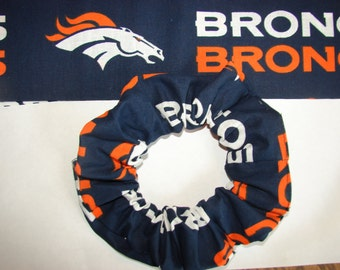 Denver Broncos Football fabric Hair Scrunchie, NFL team sport, women's accessories, Colorado Orange crush Blue, womans scrunchies, gifts