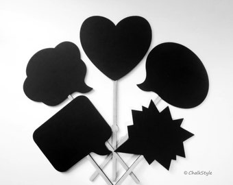 5 Chalkboard Photo Booth Props WOOD Speech Bubbles on Stick  Chalk Board Bubbles and Heart Chalk Board for Wedding Engagement or Baby Photos
