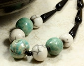 South African Bead and Onyx Necklace, Strand Necklace, Chunky Necklace, Blue Green Necklace, Black Necklace
