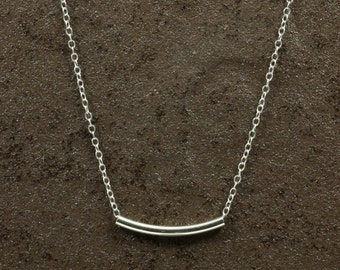 Silver Tube Necklace with Sterling Silver Chain, Silver Necklace, Sterling Silver Necklace, Sterling Necklace