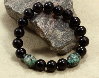 Onyx and African Turquoise Bracelet , Stacking Bracelet, Stretch Bracelet, Black Onyx