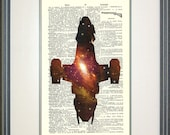 Serenity Nebulae Print on Vintage Dictionary Page, Firefly, Serenity, Joss Whedon fan art, fandom, sci-fi, geek gifts, nerd gifts, galaxy