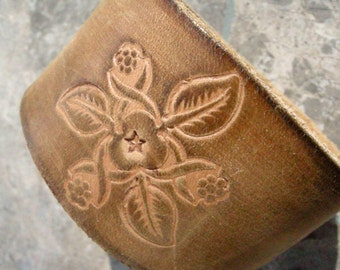 Recycled Brown Flower Embossed Distressed Leather Bracelet with Snap BRN-212-1