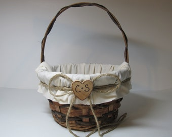 Personalized Rustic Flower Girl Basket For Your Country Wedding