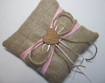 Personalized Rustic Burlap Ring Bearer Pillow With Pink & Burlap Sash For Your Country Wedding