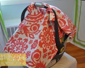Coral Suzani and Grey Minky Car Seat Canopy
