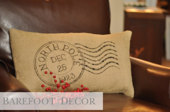 "Handpainted Burlap ""North Pole"" Postage Stamp Accent Pillow"
