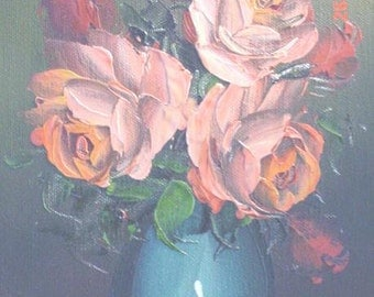 Vintage Oil Painting Roses Farmhouse Cottage Chic