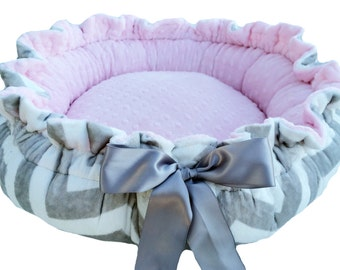 X Large Dog Bed Gray and White Chevron Minky Print Minky Dog Bed With  Pink Dot Cuddle Minky
