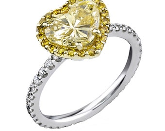 Pave Style 1.21 TCW 18k White Gold Heart & Round Cut Diamond Anniversary Ring
