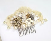 Ivory & Gold Hair Comb- Gold Bridal Hair piece- Gold Bridal Hair clip-Pearl Bridal hairpiece- Vintage Inspired Bridal Hair Comb - Fascinator