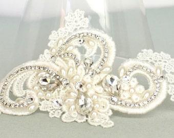 Ivory Bridal Hair Comb-Pearl and Rhinestone Bridal Comb- Bridal Hair Accessories-Ivory Lace Bridal Comb-Bridal Hairpiece-Lace Hair accessory