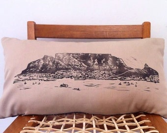Cape Town Table Mountain Hand block printed decorative lumbar scatter cushion cover