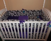 4 piece crib bedding set damask purple with blue accents minky baby girl bedding ruffles flower