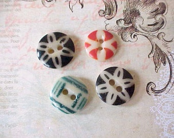 4 Charming Antique Stenciled China Buttons