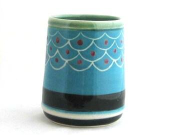 Ceramic Tumbler - Juice Cup - Mid Century Tumbler - Turquoise Cup - Modern Blue Cup - Modern Tumbler - Mid Century Cup - Retro Tumbler