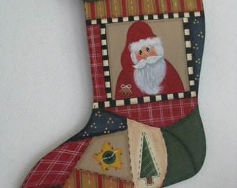 Stocking, patchwork, santa, wall decor, Christmas