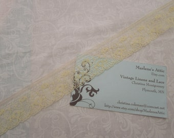1 yard of 1 inch Vintage Yellow Chantilly lace trim for bridal, baby, spring, lingerie by MarlenesAttic - Item RR0
