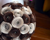 Wedding Bouquet, Two Tone Brown Flowers With Clear Crystals