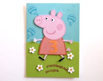 Peppa Pig Birthday Card Personalized for Kids Handmade Greeting Card for girls Custom Made with Peppa Pig