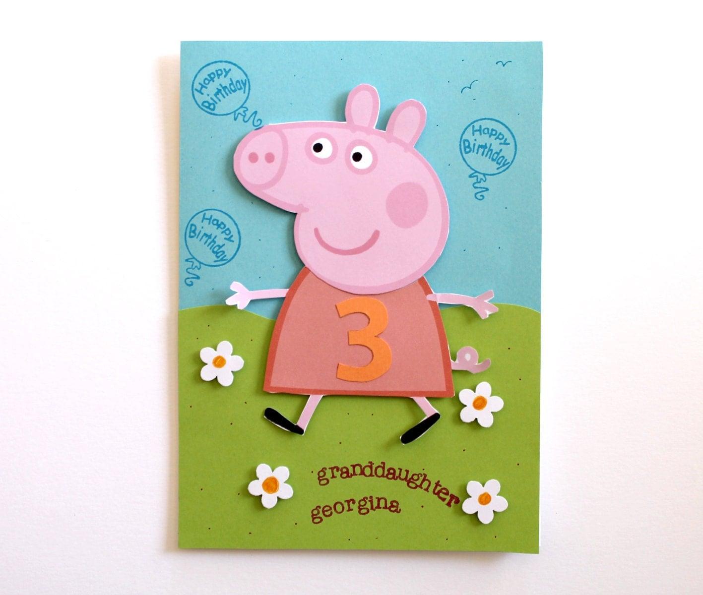 Peppa Pig Birthday Card Personalized for Kids Handmade – Peppa Pig Birthday Card