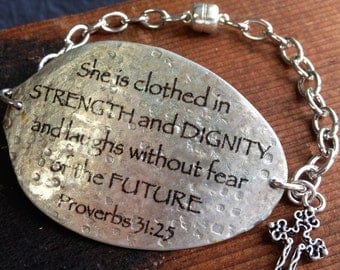 Proverbs 31:25 Spoon Bracelet with Cross Charm, Scripture Bracelet, Silverware Jewelry, Gift for Friend, Mom, Sister, Daughter