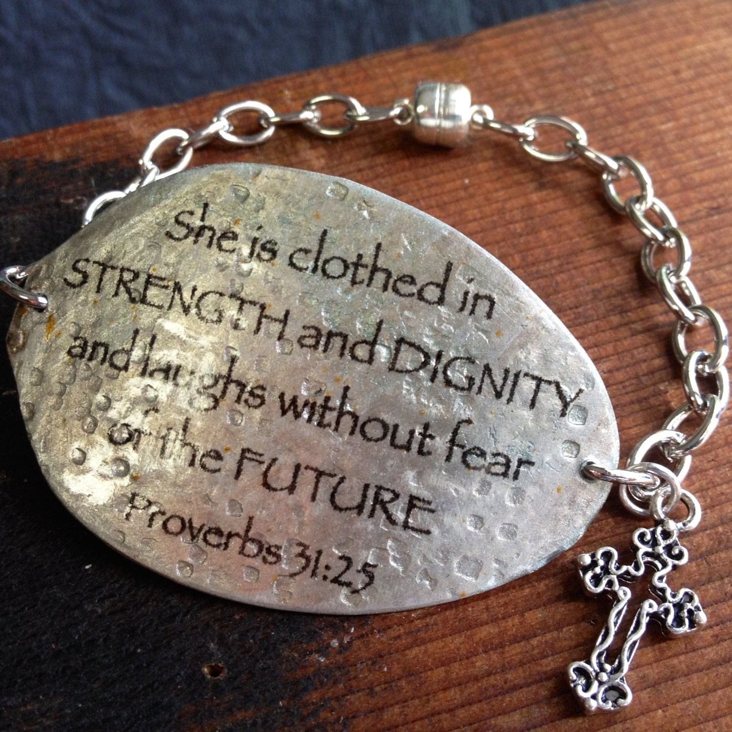 Cross Charm Bracelet: Proverbs 31:25 Spoon Bracelet With Cross Charm Scripture